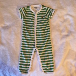 Baby Gap 12-18 mo. one piece green & white stripes